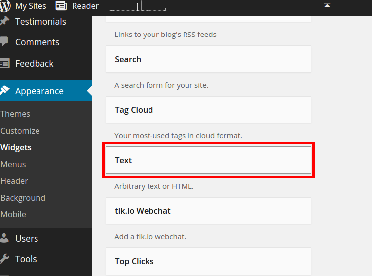 select and drag text widget