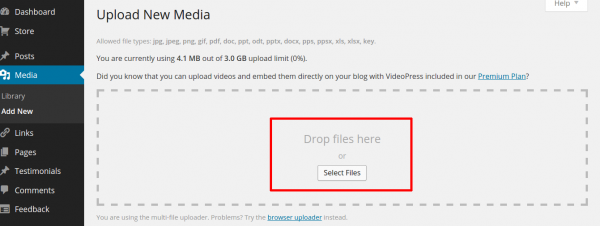 Select and upload files